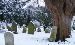 St Michael's churchyard in snow