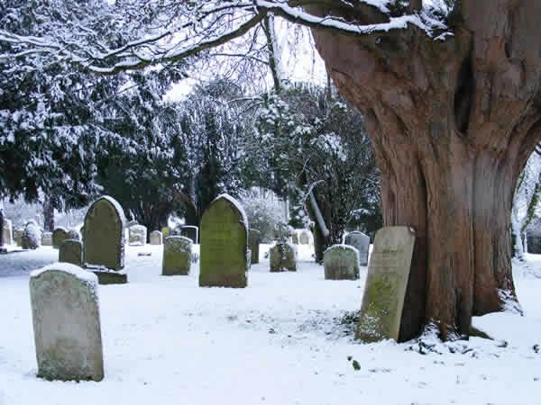 St Michael's churchyard in snow