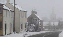 Main Street, Great Gidding, snowfall Feb 2012