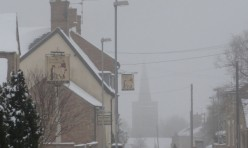 Main Street, Great Gidding in snow