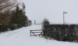 Hemington Lodge Road, Great Gidding in winter snow