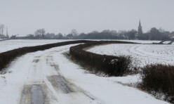 Luddington Road, Great Gidding in winter snow