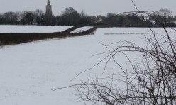 Luddington Road, towards Great Gidding, in winter snow