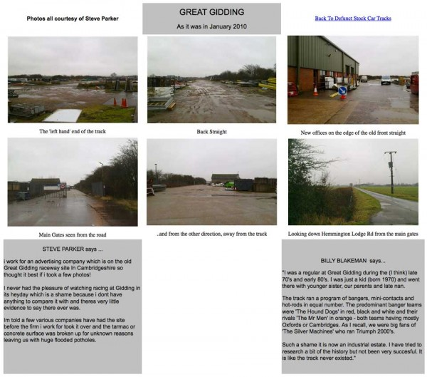 Great Gidding Raceway on Simon Lewis website