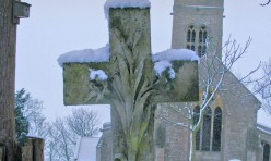 St Michael's Church, Great Gidding in snow