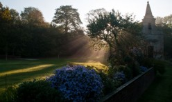 Church, sun and morning mist, Little Gidding. Photo: Paul Skirrow