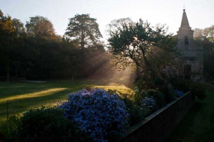 Church, sun and morning mist, Little Gidding. Photo: Paul Skirrow