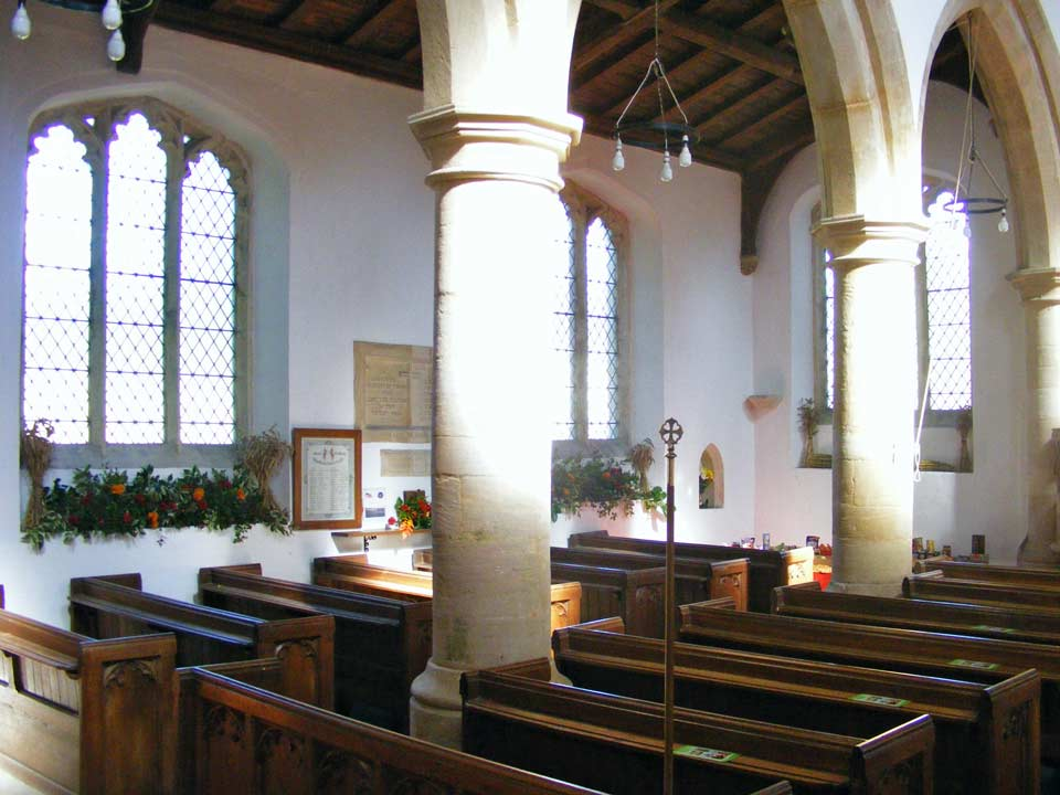 Interior and Harvest Festival decorations, St Michael's Church, Great Gidding 2009