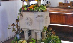 Harvest festival decorations and font, St Michael's Church, Great Gidding 2009