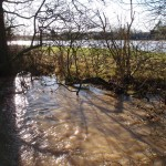 The upper reaches of the Alconbury Brook flooding on the Parish Boundaries of Great Gidding and Luddington in the Brook
