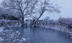 Snow in Great Gidding January 2013 - Chapel End Pond