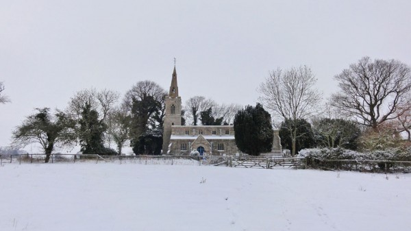 Snow in Steeple Gidding January 2013 - St Andrew's