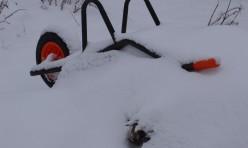Upturned wheel barrow