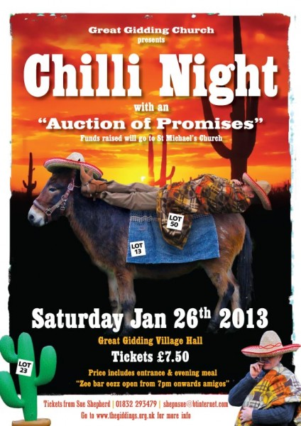 Chill Night and Auction of Promises at Great Gidding Village Hall