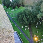 The Church roof and cemetery from St Michael's Church tower, Great Gidding