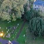 The Vicarage and cemetery from St Michael's Church tower, Great Gidding