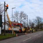 Overhead line repairs, Main Street, Great Gidding