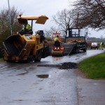 Road works on Luddington Road, Great Gidding