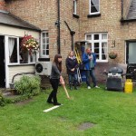August Bank Holiday Monday game of Aunt Sally at The Fox & Hounds, Great Gidding 2014