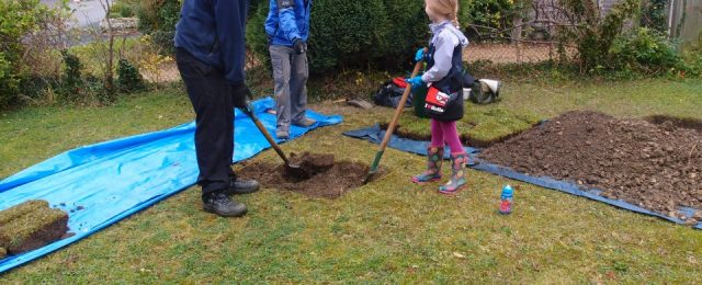 Archaelogical test pits being dug in Great Gidding this week
