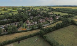 Aerial view of Great Gidding - Chapel End from Recreation Field
