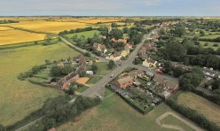 Aerial view of Great Gidding - Main Street crossroads