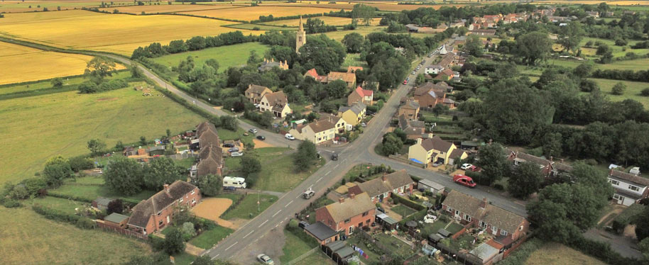Aerial view of Great Gidding Main Street from the Recreation Field (south)