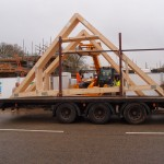 Arrival of roof trusses