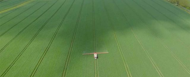 Aerial video of Michael crop spraying in Glatton
