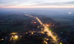 Aerial view of Great Gidding - dusk October 2016