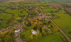 Aerial view of Great Gidding - Main Street looking south east