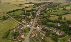 Aerial view of Great Gidding from the playing fields