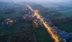 Aerial view of Great Gidding - dusk October 2016 III