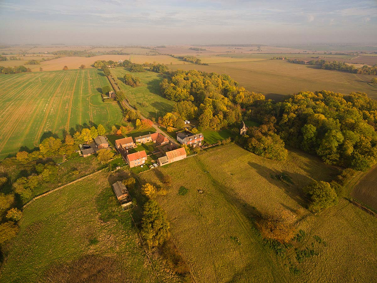 Aerial view of Little Gidding