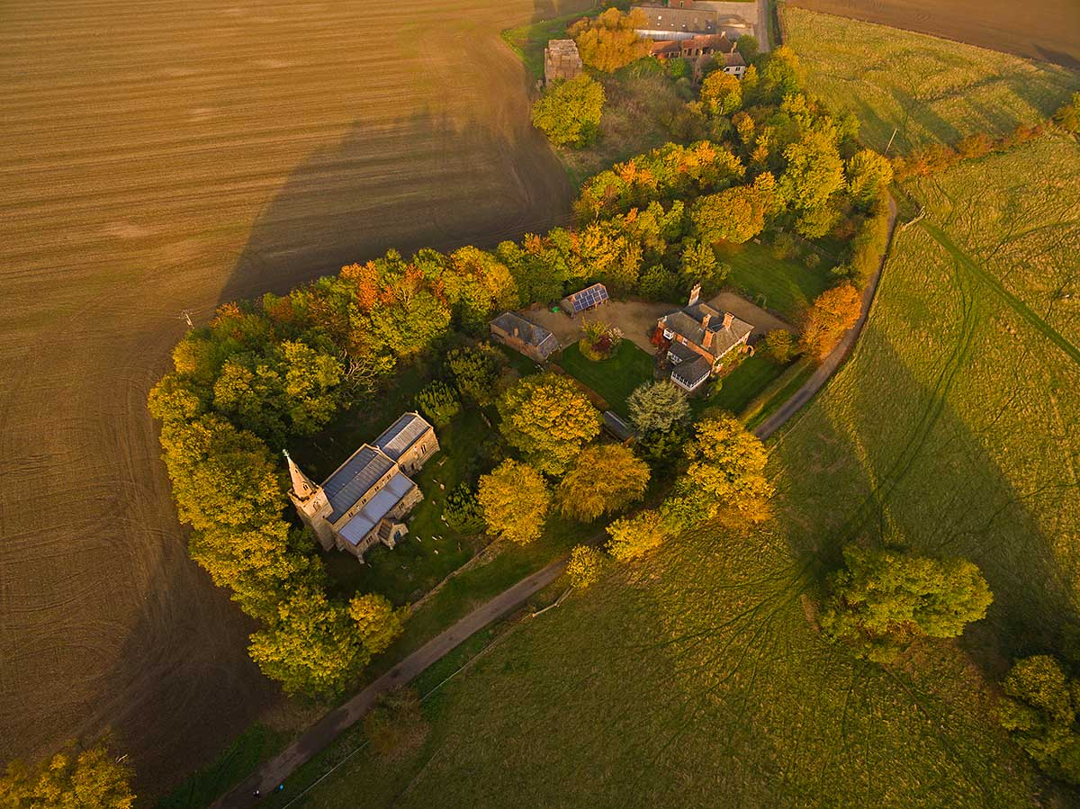 Aerial view of Steeple Gidding