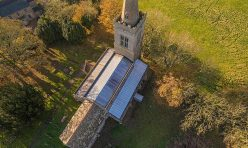 St Michael's Church, Great Gidding aerial view