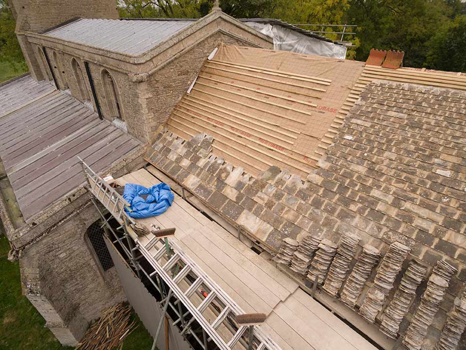 Repair of Collyweston roof at St Michael's Church, Great Gidding