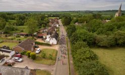 Tour of Cambridgeshire cycle race passing through Great Gidding June 2019