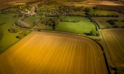 Aerial photo of Great Gidding looking north from Winwick Road