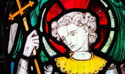 St Michael stained glass (detail) - St Michael's Church, Great Gidding