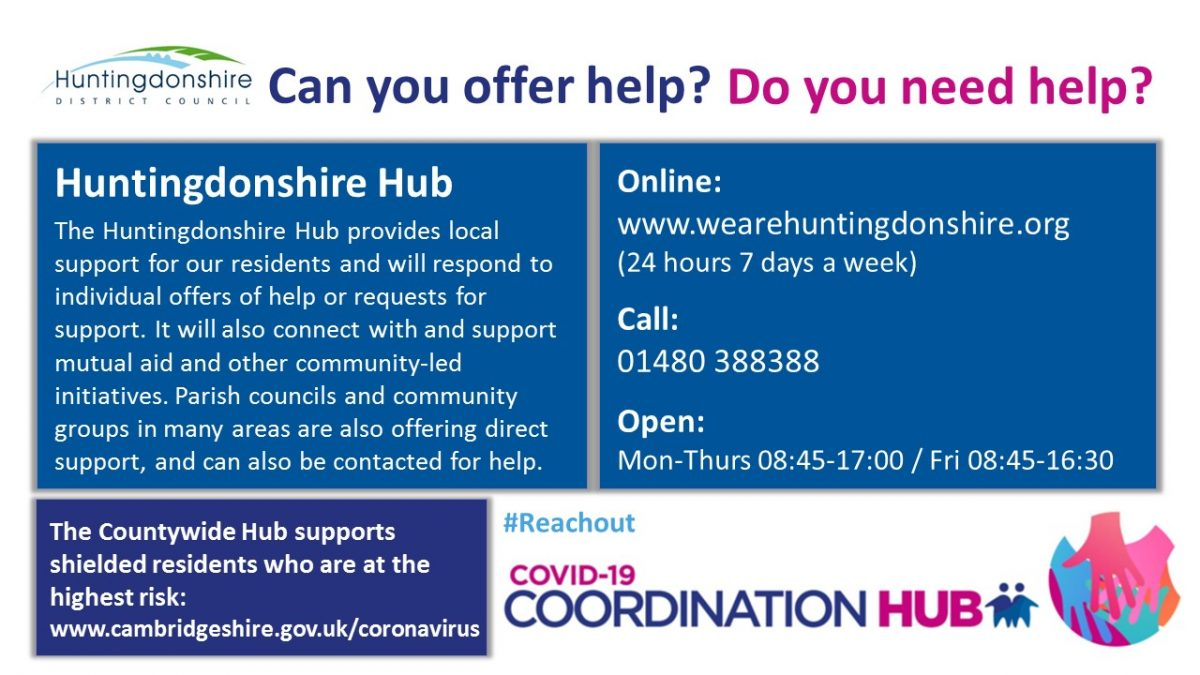 Infographic for the Huntingdonshire District Hub contact details for you to share