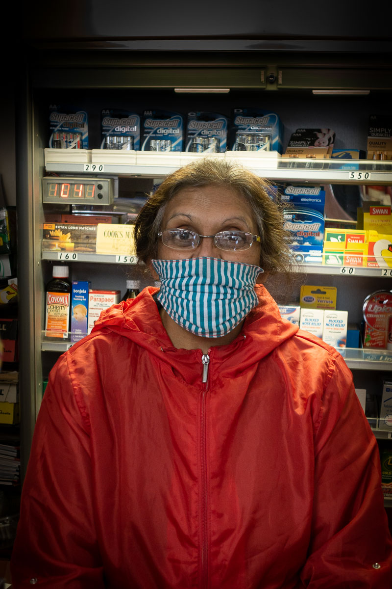 Aruna wearing face cover during Covid-19 lockdown in Great Gidding Stores