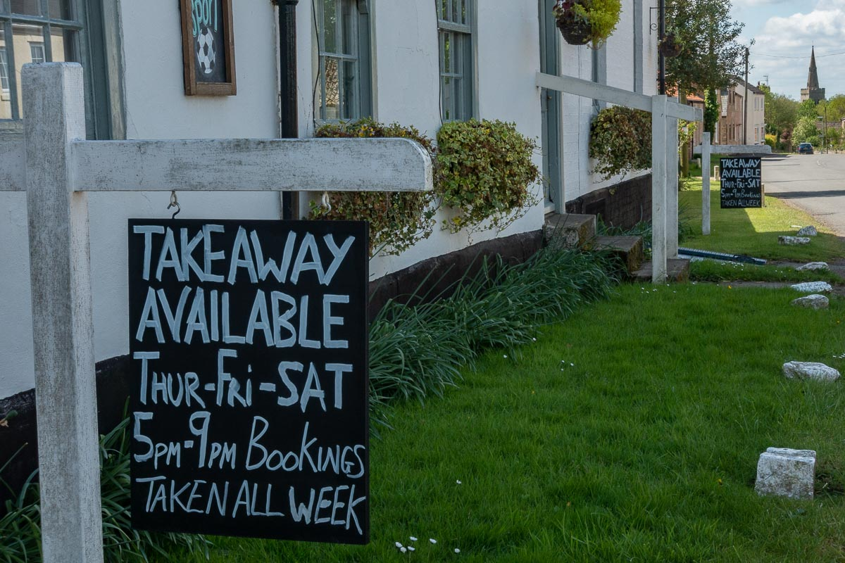 Takeaway service only at the Fox and Hounds during Covid-19 lockdown in Great Gidding