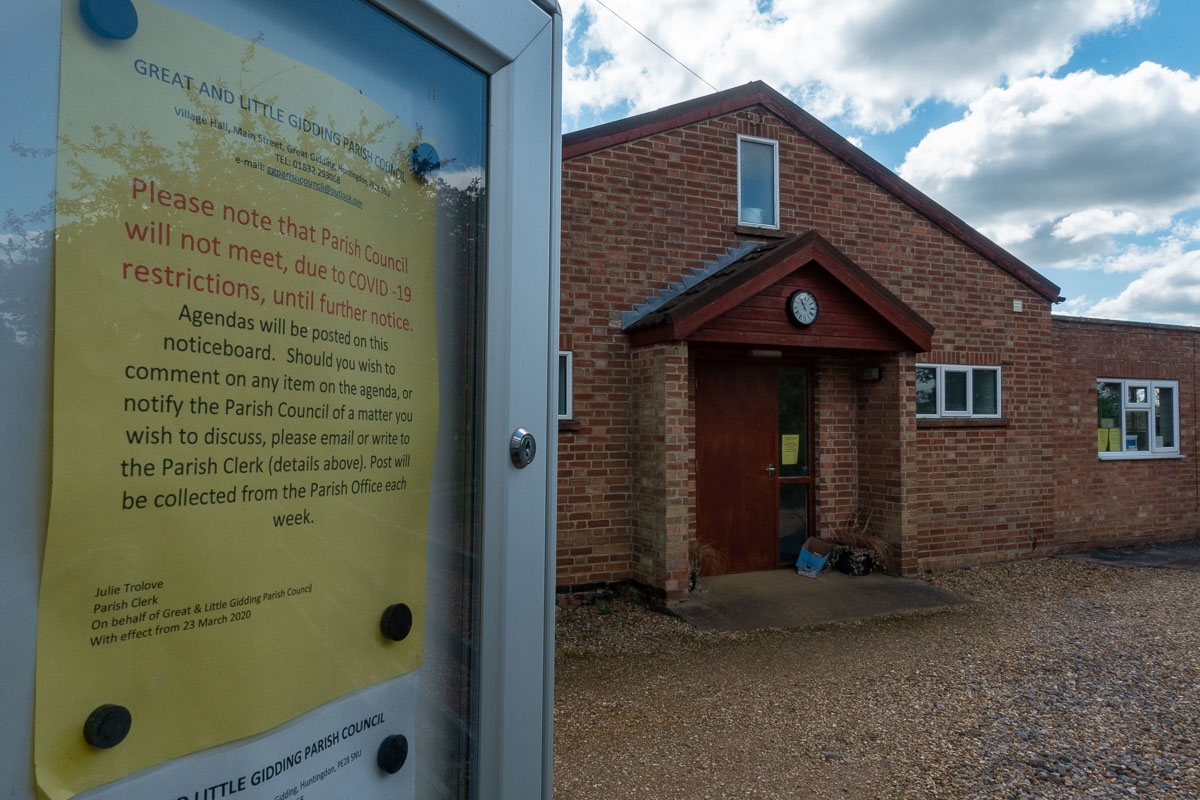 Covid-19 lockdown posters at Great Gidding Village Hall