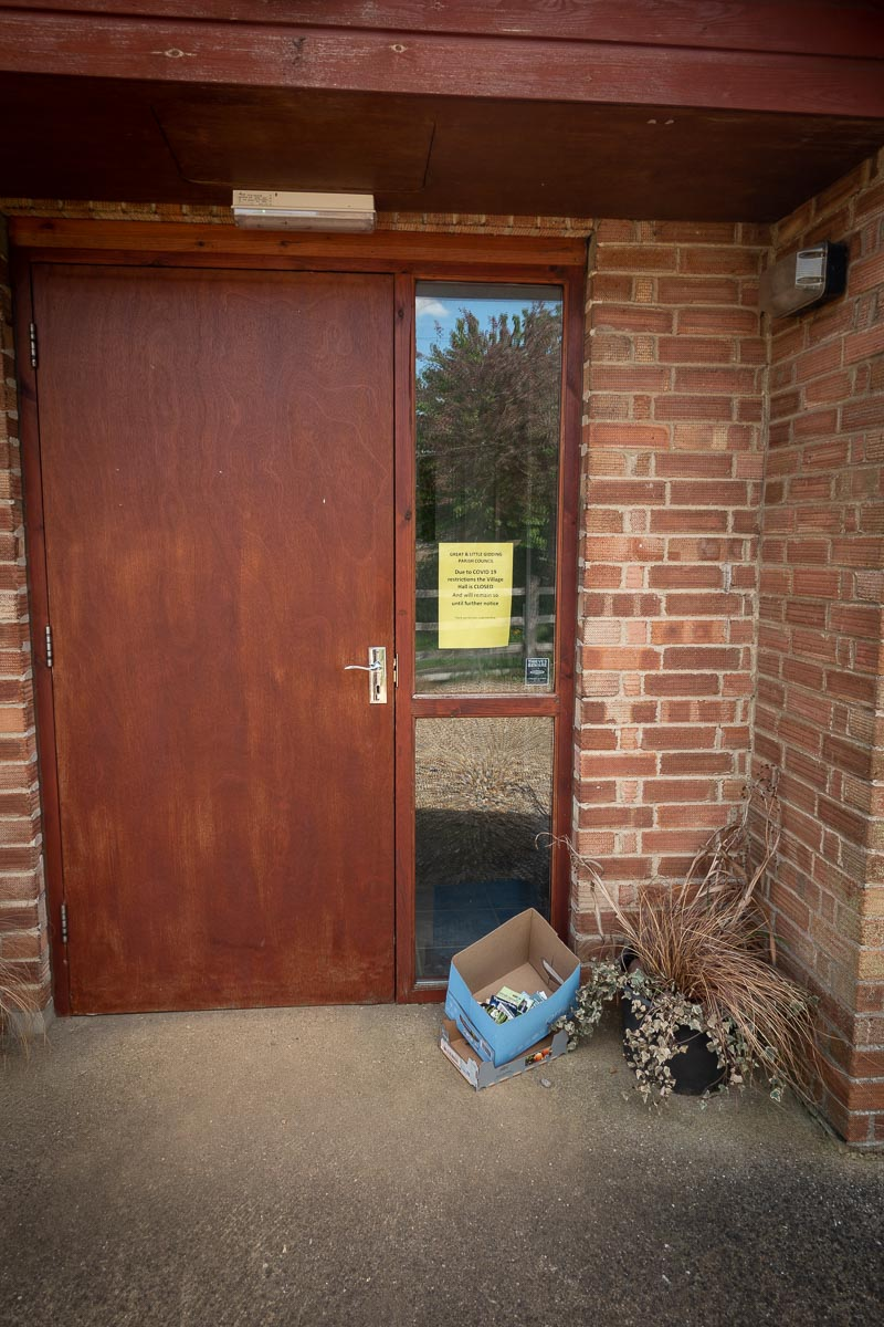 Covid-19 lockdown signs in Great Gidding Village Hall
