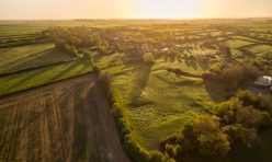 Aerial view of Great Gidding - early morning Spring 2020