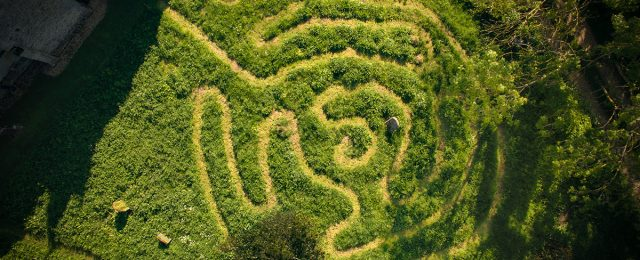 Maze at St Margaret's Church, Luddington in the Brook