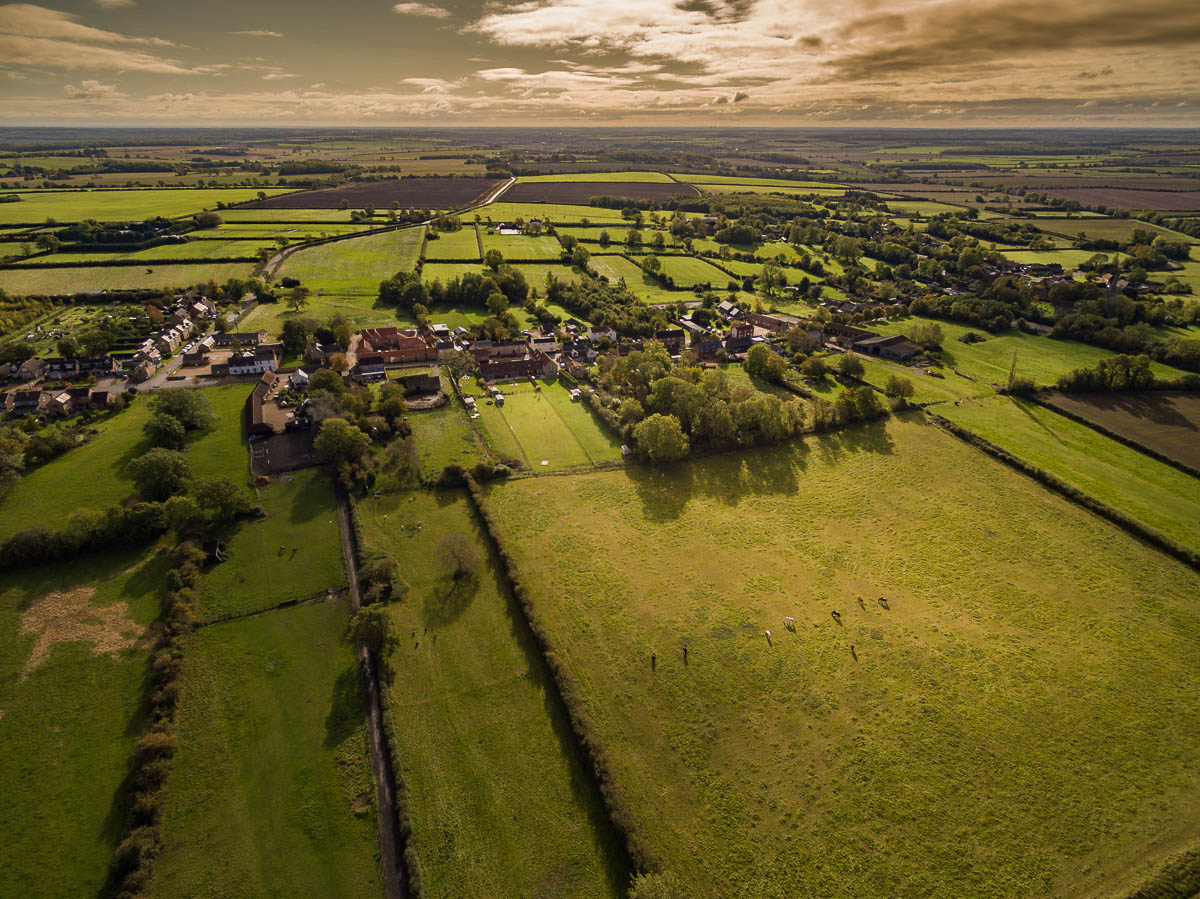 Aerial view of Great Gidding from west