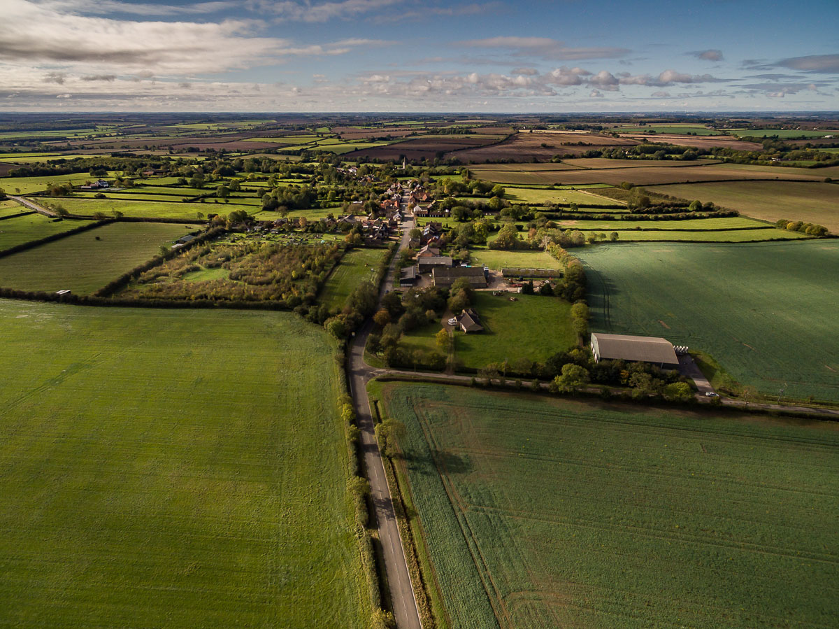 Aerial view of Great Gidding from north