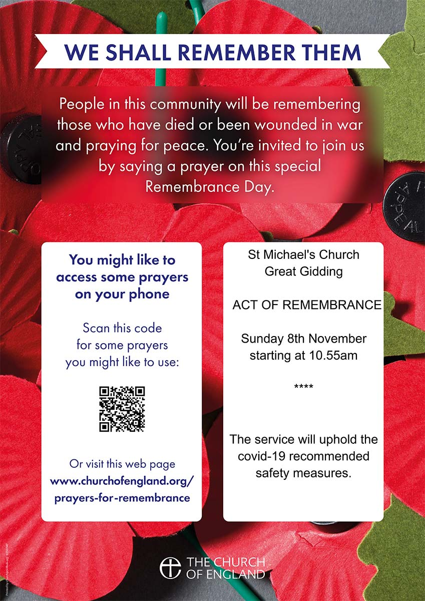 Remembrance day poster St Michael's Church Great Gidding
